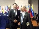 Con el secretario de Relaciones Internacionales, Jorge Sanin